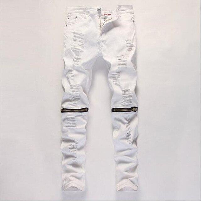 Mens flaco blanco Vaqueros masculino Pantalones cargo elástico moda hip hop Pantalones  harem hombre marca Denim. Sitúa el cursor encima para ... e7d40e0e48f9