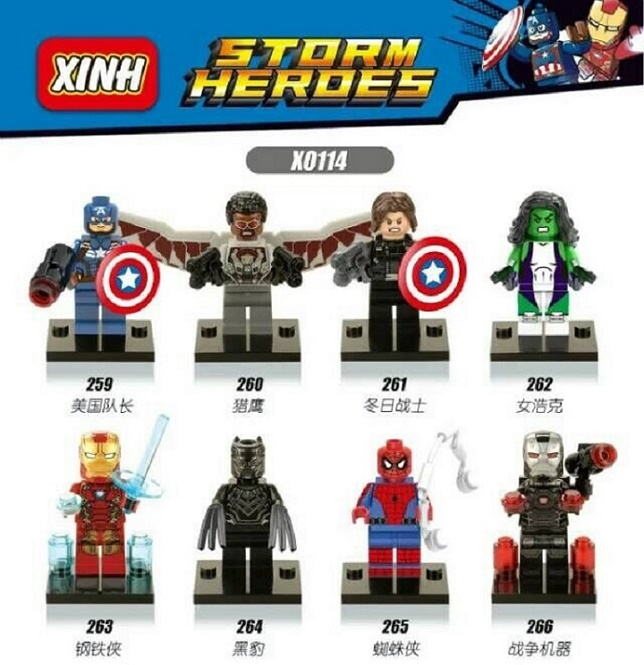 Building Blocks Super Heroes Captain America Iron Man Spiderman She Hulk Winter Soldier War Machine Bricks Children Toys X0114 sy687 super heroes captain america iron man thor hulk spiderman superman set building blocks bricks action children gift toys