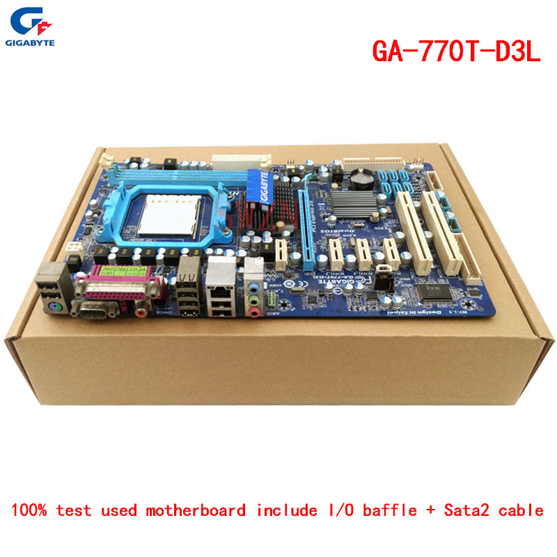 original Used Desktop motherboard For Gigabyte GA-770T-D3L 770 support Socket AM3 2*DDR3 support 8G USB2.0 ATX original used desktop motherboard for asus p5ql pro p43 support lga7756 ddr2 support 16g 6 sata ii usb2 0 atx