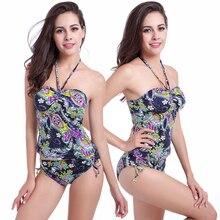 Vintage Prints 2019 Adjustable waist - tie High waist Push up Swimsuit Big XXL Women Plus size Tankini