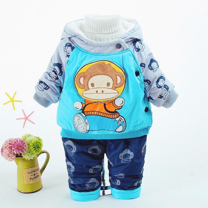 Baby Boy Clothing Set Velvet Toddler Clothes Winter Tracksuits Kids Sport Suit Set Casual Cartoon Hooded Coats/Jacket+pant