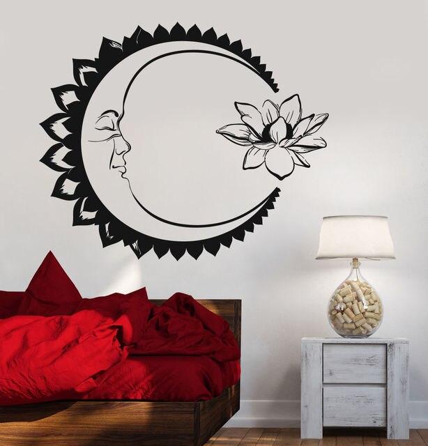 US $6.98 25% di SCONTO|Luna Fiore di Loto Meditazione Stickers Murali  Soggiorno Decorazione Adesivi Murali In Vinile Per Yoga Studio Decor Art  Sticker ...