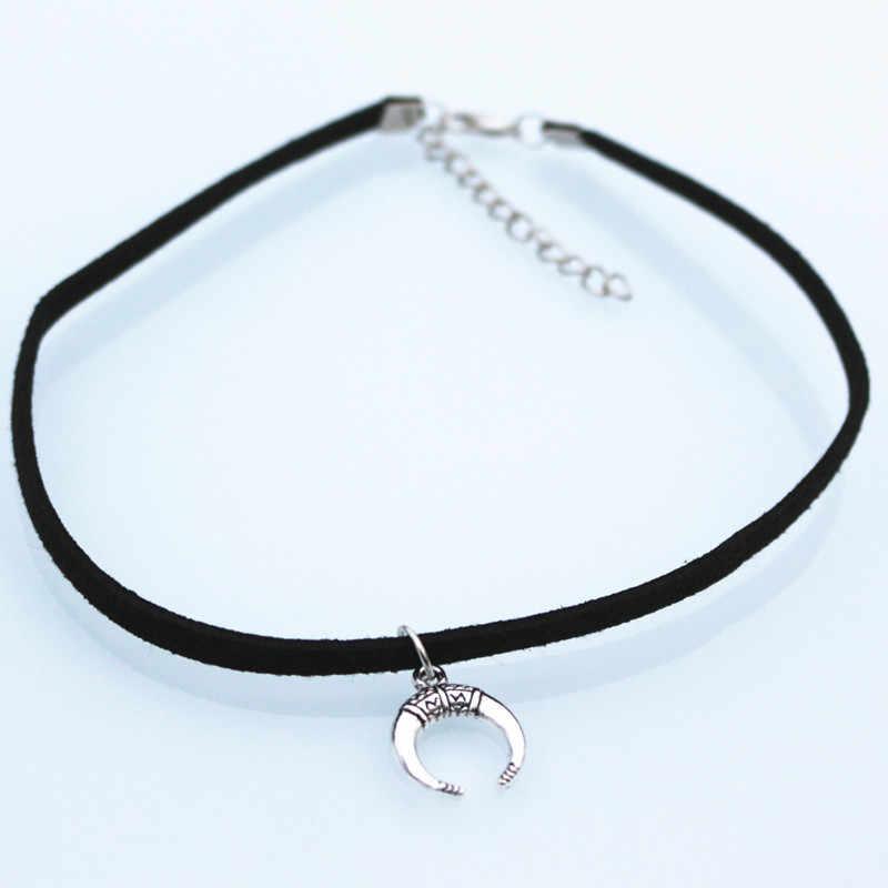 N2007 aksamitny zamsz Chokers naszyjniki dla kobiet mężczyzn półksiężyc geometryczny naszyjnik Collares biżuteria Bijoux