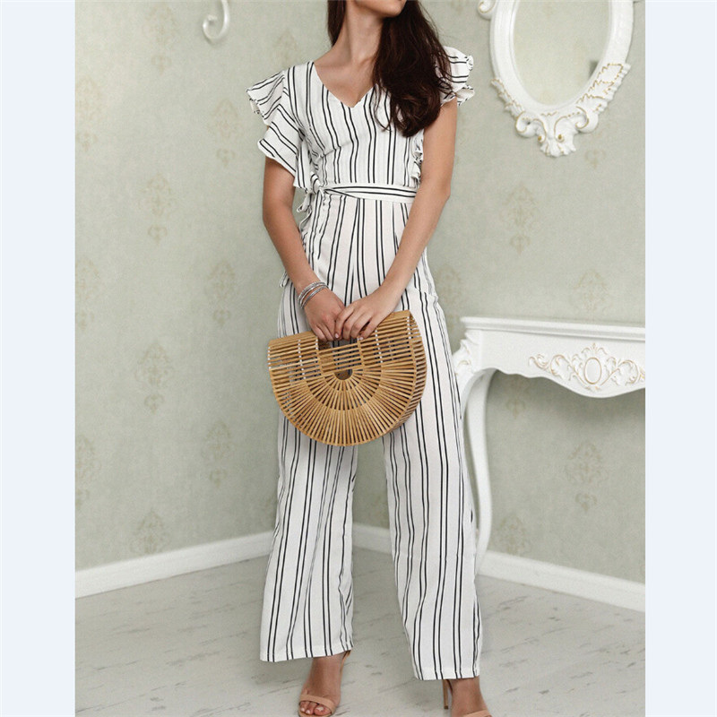 Women Lady V Neck Loose Playsuit Party Ladies Romper Sleeveless Long Jumpsuit Sleeveless High Waisted Vertical Stripe Jumpsuit
