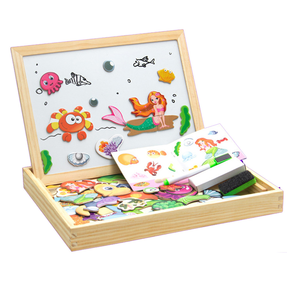 100+Pcs Wooden Magnetic Puzzle Toys Drawing Board Children Educational Games Figure/Animals/ Vehicle /Circus 3D Puzzles Toy
