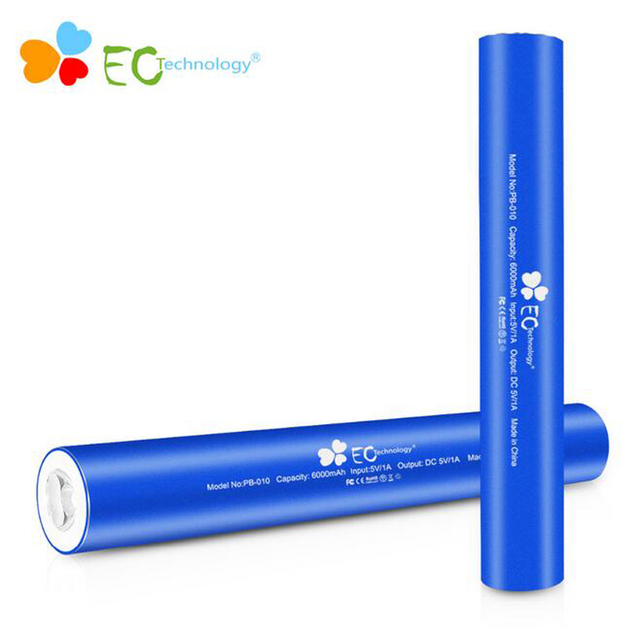 Power bank 18650 Brand EC Technology External Battery Charge mi powerbank battery With Built-in LED Flashlight
