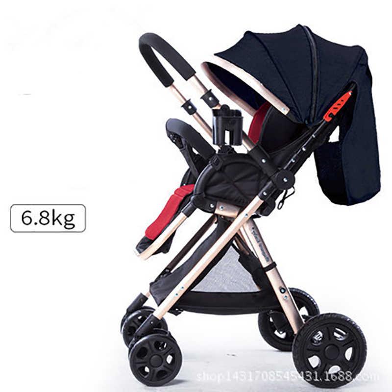 Carrinho de criança leve 6.9kg 52cm alta paisagem carrinho de bebê peso líquido 2-way push impermeável linho dossel material lavável