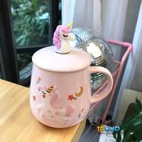 Creative Cute Coffee Mug Girl Heart Unicorn Straw Cup Ceramic Korean Edition Chic Girl Student Household Water Cup Best Gift