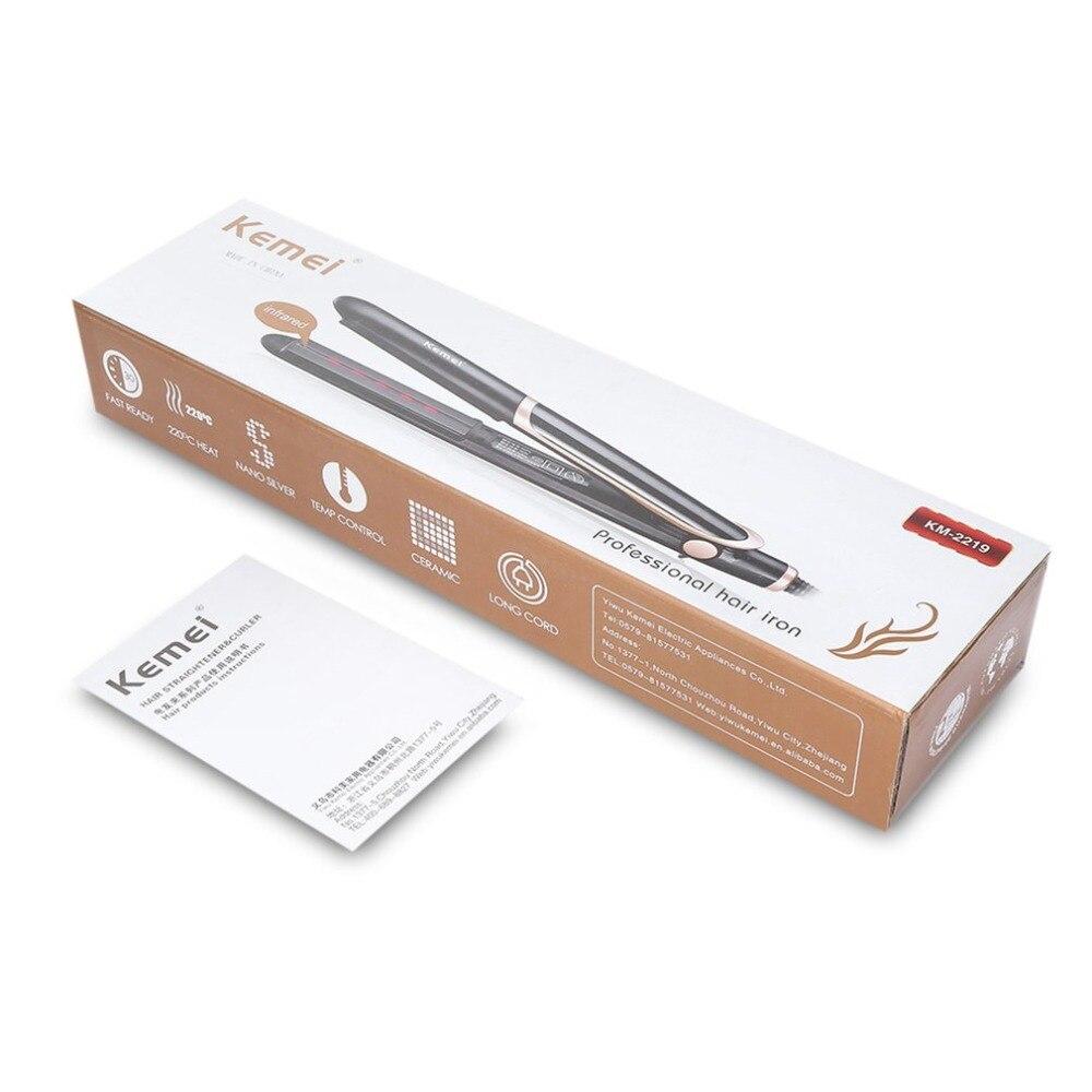 Dropshipping Kemei pelo infrarrojo plancha de cerámica termostático de herramienta de peluquería pelo plancha, plancha de rizado de enchufe de la UE