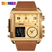 Skmei relógio esportivo masculino marca de luxo superior militar quadrado do vintage 3 tempo relógio de quartzo relógios digitais relogio masculino 1391 Relógios esportivos     -