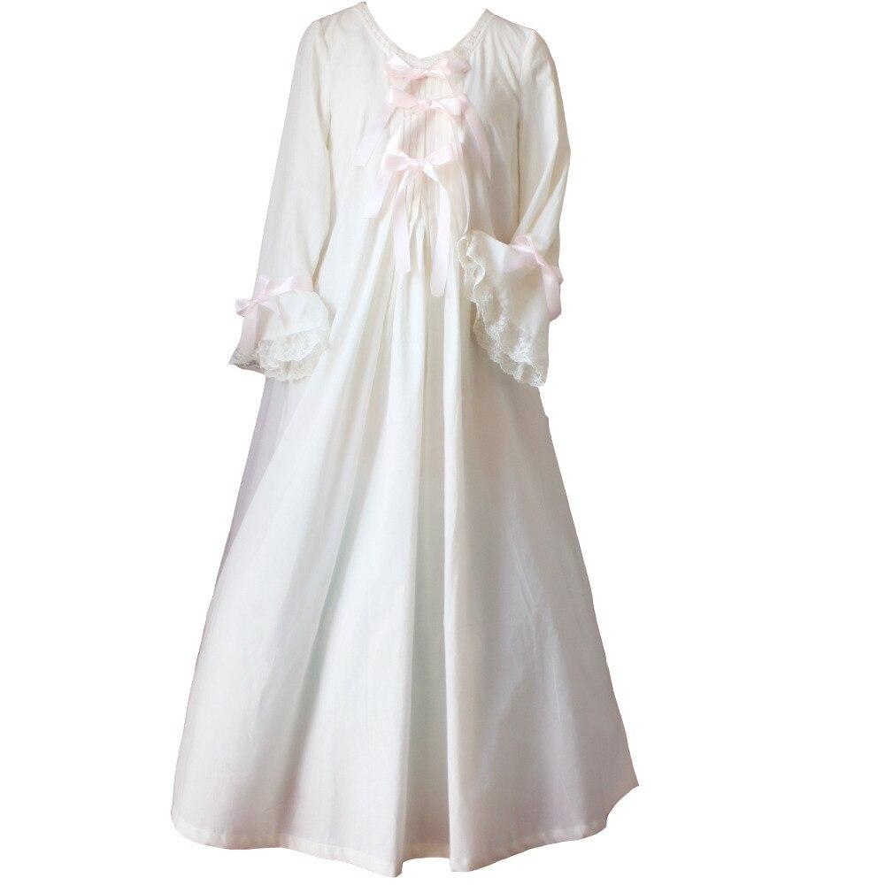 Vintage romantique classique princesse à manches longues coton vêtements de nuit femmes chemises de nuit