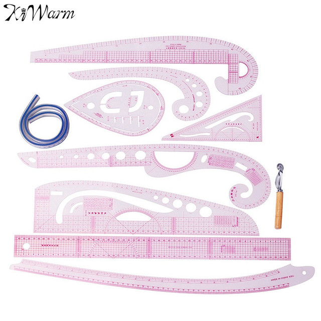 KiWarm 9Pcs Plastic French Curve Metric Sewing Ruler Measure For ...