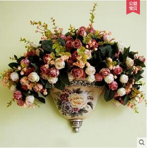 Europe type hanging vases flower basket Wall act the role ofing to hang floral metope Rural household wall act the role of wall in Vases from Home Garden