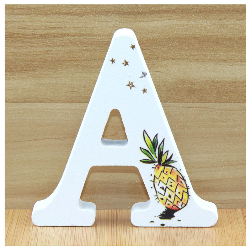 1pcs 10X10cm Wooden Letters Decorative Alphabet Hand Made Word Wood Letter Name Design Art Crafts Pineapple Wedding Home DIY