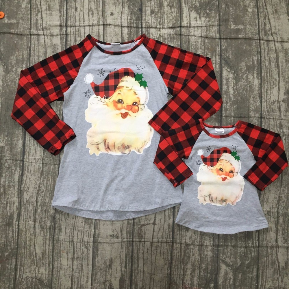 Christmas Fall Winter Baby Girls Mom And Me Raglans Children N Bab Girl Set Blue Flower Size 5t Santa Clause Top With