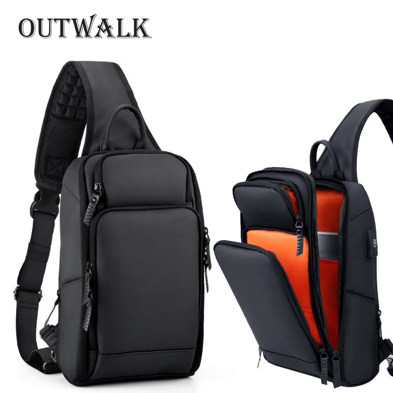 Men/'s Chest Bags Waterproof Nylon Single Shoulder Bags Large Capacity Casual Bag