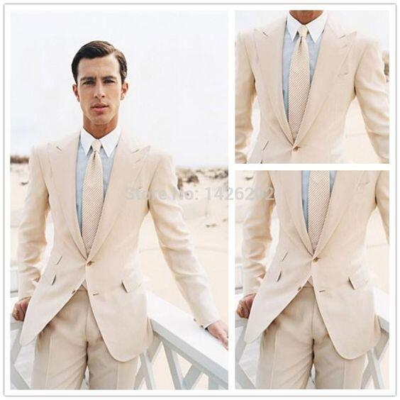 Hi, Our wedding is the Saturday and my fiance's suit will be ready Thursday (I know, cutting it close). It is a light gray suit for a outdoor wedding. I'd like him to wear a cream linen vest with either a blue or sand colored tie and maybe a yellow pocket square (if blue tie) or blue pocket square (if sand colored tie).