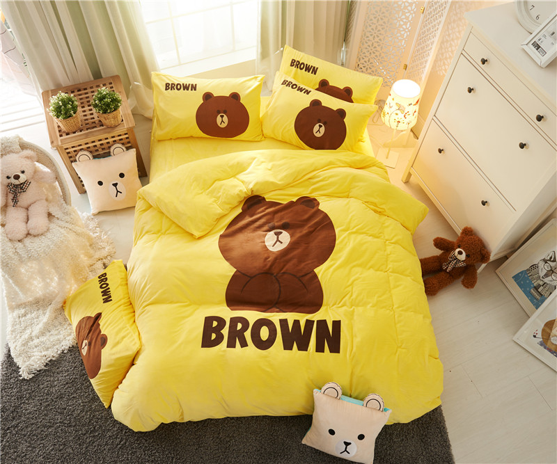 Cartoon Fleece fabric Luxury Bedding Set bear Bed Set Twin Queen winter Bed Linens yellow Duvet Cover Bed SheetCartoon Fleece fabric Luxury Bedding Set bear Bed Set Twin Queen winter Bed Linens yellow Duvet Cover Bed Sheet