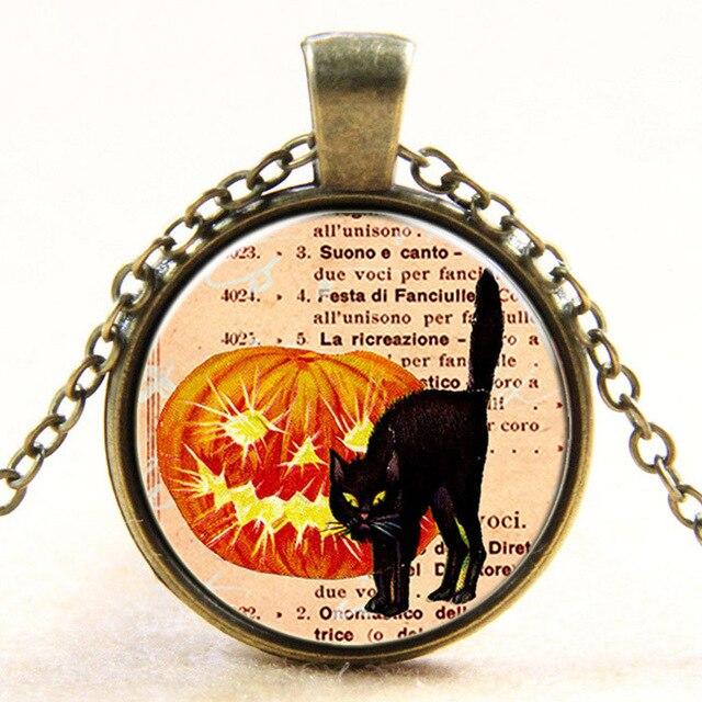 Fashion vintage steampunk European style Halloween pumpkin Jack-o-lanterns black cat retro glass dome art photo pendant necklace