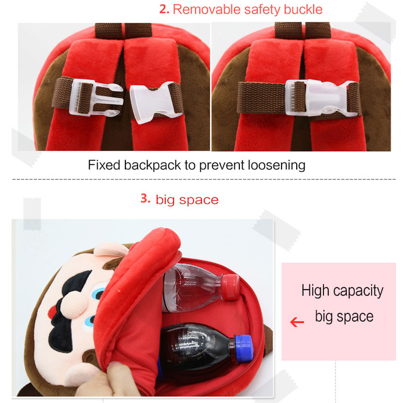 2017 New anti-lost kids bags 3D orthopedic mini Children backpack Pet plush kindergarten nursery school bags for Boys