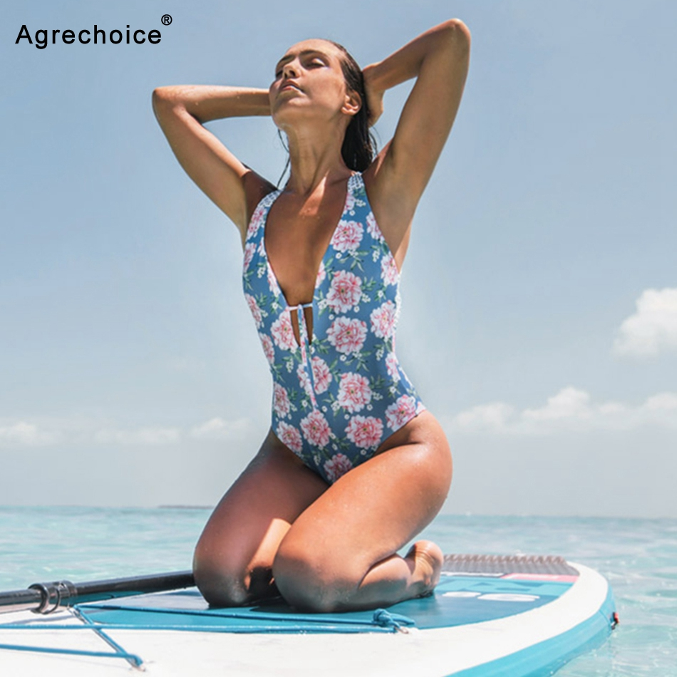 Sexy One Piece Swimsuit Women Swimwear 2019 New Print Monokini Backless Bathing Suits Summer Beach Wear
