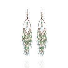 ECODAY Bohemian Acrylic Beads Crystal Drop Earrings for Women Boho Jewelry Tassel Oorbellen Accessories