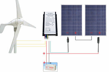 Reino Unido Stock 24 V 600 W/H sistema híbrido Kit 400 W generador de turbina de viento 200 W 12 V PV Solar panel
