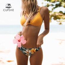 CUPSHE Gelb Floral Print Und Solide Kreuz Bikini Sets Frauen Herz Neck Backless Zwei Stücke Bademode 2020 Sexy Tanga Badeanzüge