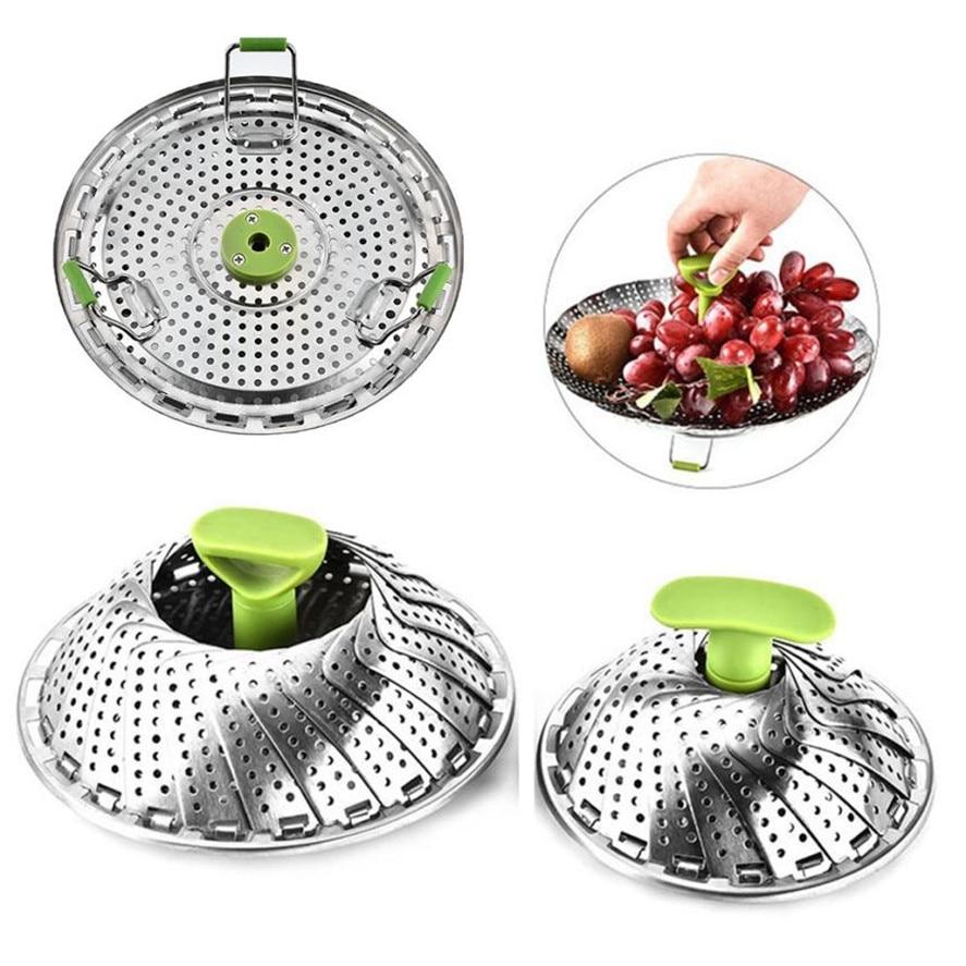 New Steamers 1pc Kitchen Steamer Basket Stainless Steel Vegetable Steamer Basket Folding Steamer 9 Inch/11 Inch
