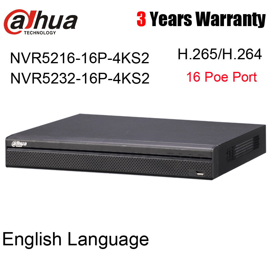Dahua English version 4K 16ch 32ch NVR h.265 16 poe port NVR5216-16P-4KS2 NVR5232-16P-4KS2 16 32 Channel Network Video Recorder sougayilang 1 8 3 0m telescopic fishing rod set and 14bb metal spool spinning reel spinning fishing rod reel combo cana de pesca