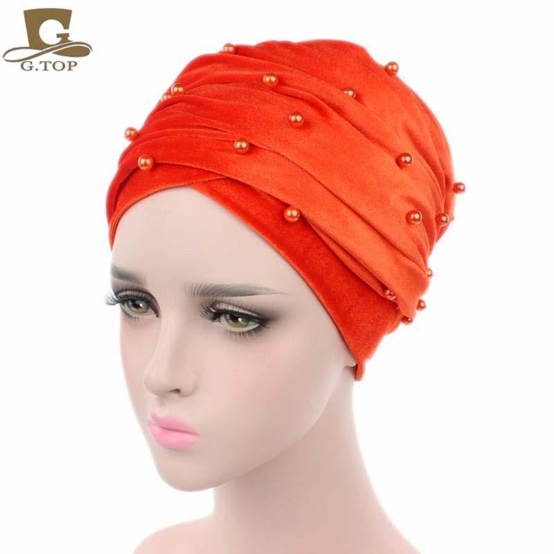New luxury beaded pearled velvet turban long head scarf headwrap women muslim hijab Bandanas Hair Accessories 24
