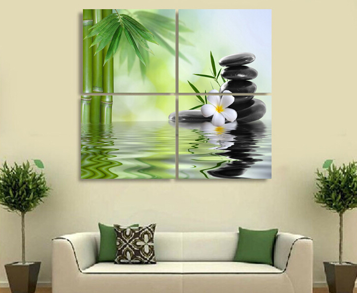 4 Pieces Of Wall Art The Feng Shui Green Paint On Canvas Painting Oil Modern