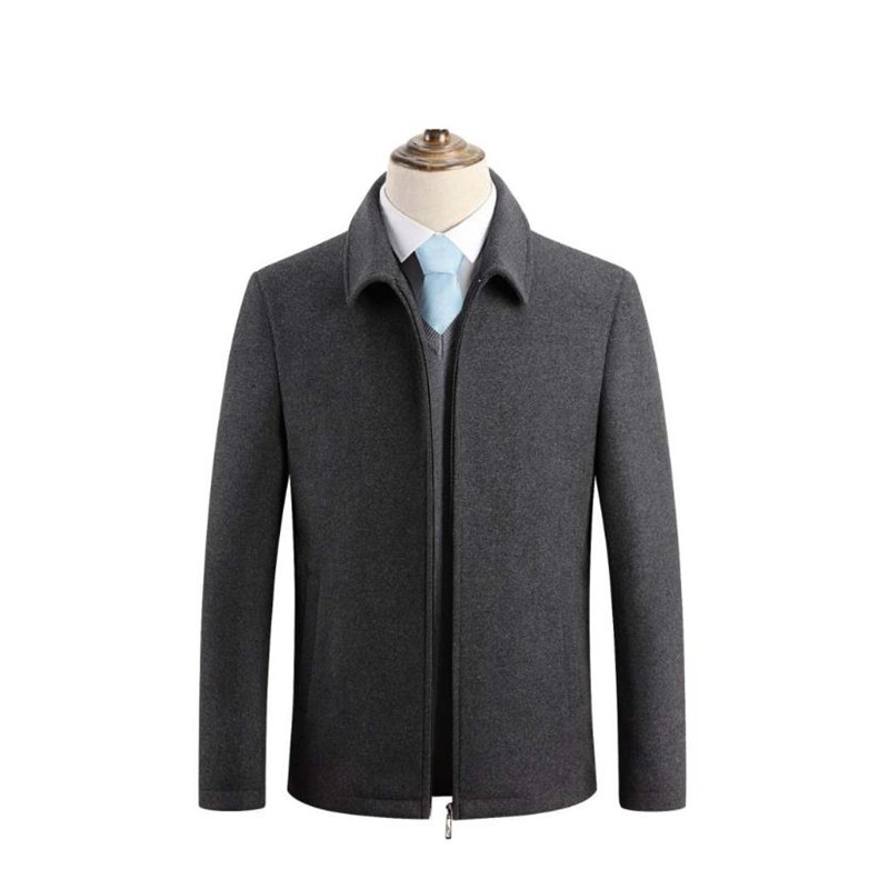 Winter new thick men's wool coat business casual coat warm windbreaker plus velvet jacket(China)