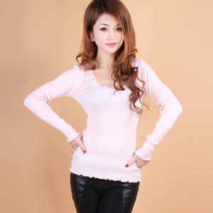 Basic Shirt Top-Mulberry O-Neck Plus-Size Long-Sleeve Cotton Silk Elastic-Thread Slim