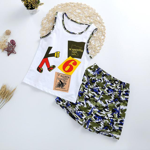Summer Cute Cartoon 2PCS Kids Baby Boys Girls Floral Vest Top Shorts Pants Set Clothes Children Pajamas Girls Clothing Sets DS9
