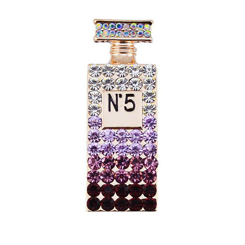 Unique cheap rhinestone brooch purple cool pins broches jewelry fashion female perfume bottle brooch lot free