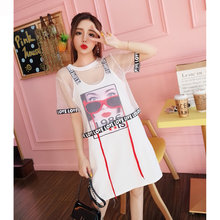 Beach Casual Women Suits Mesh Perspective Short Tops+Letter Spaghetti Strap Printed Pattern T-Shirts Dress 2-pieces Sets