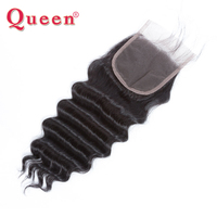 Queen Malaysian Remy Human Hair Weave Bundles Free Part Closures Loose Deep More Wave Lace Closure With Baby Hair Extensions