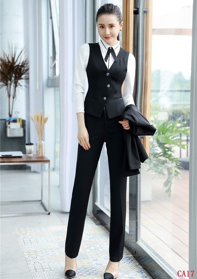 Di E 3 Dei Camicette Cappotto Formale Delle Set Panciotto Disegni Black Pezzi Uniforme Signore Donne Affari Con Ufficio Vestiti Giacche Pantaloni Della Magliaamp; QxhsrdtC