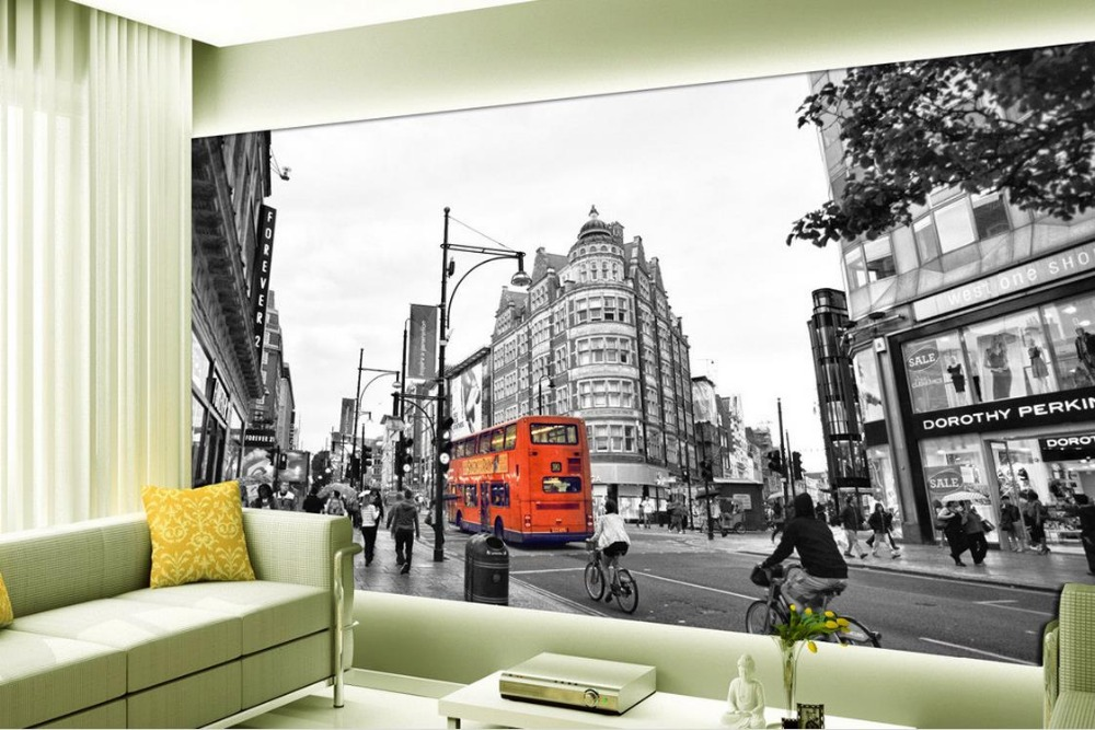 Custom 3d mural wallpaper black and white architectural for Black and white london mural wallpaper
