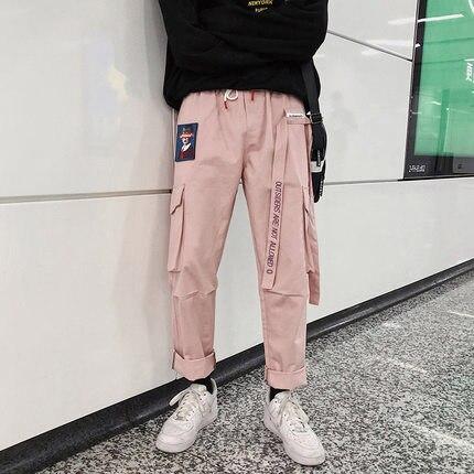 GroßZüGig 2019 Koreanische Mode Casual Wear Taschen Bänder Overalls Hosen Männer Skateboard Schwarz Rosa Grün Farbe Hip Hop Hosen Männlichen Hochwertige Materialien