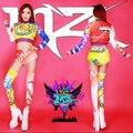 Nuevos modelos de pasarela 2015 mujeres DJ atmósfera Victoria 2ne1 color limón cola graffiti ( top + shorts + calcetines ) / sl