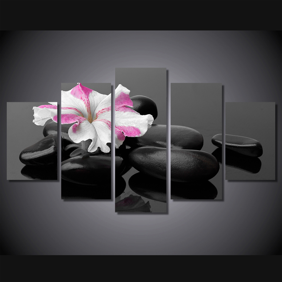 5 pcs set framed hd printed black stone flower picture for Picture wall decor