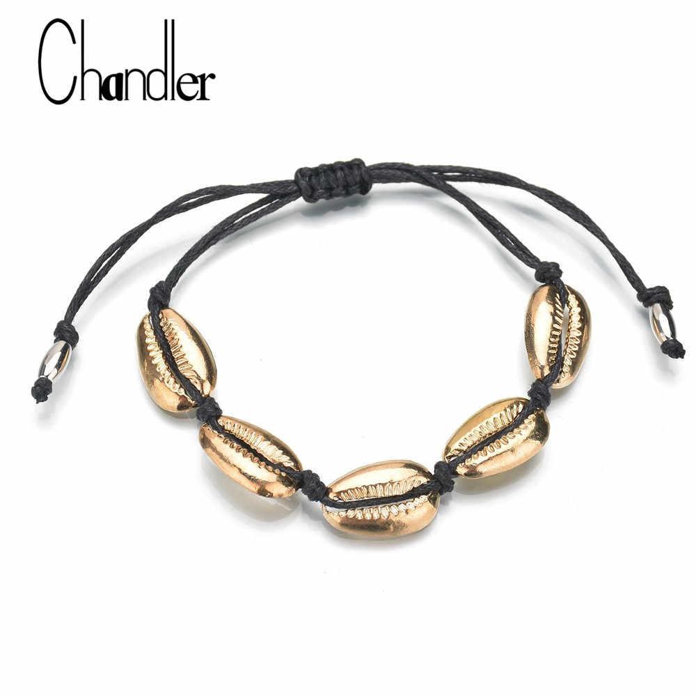 Chandler złoty kolor Cowrie powłoki urok bransoletka dla kobiet Metal muszla delikatne Rope Chain bransoletki Boho plaża Bijoux