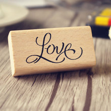 """1pcs JWHCJ Creative arts font """"love"""" """"Love you""""wooden stamps diy Hand made decal stamps for scrapbooking Photo Album Craft gifts"""