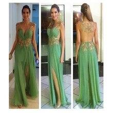 2016 neues Design A-Line Scoop Sheer Zurück Bodenlangen Abendkleid Mit Aplliques Grün Abendkleid Benutzerdefinierte Vestido De Noche