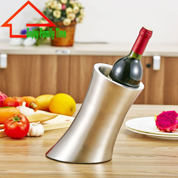 Stainless Steel Sanding Ice Bucket Diagonal Skid Beer Cooler Thicken Waist Shape Stainless Steel Wine Bottle Cooler