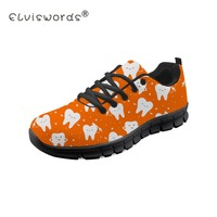 ELVISWORDS Fashion Women Flat Shoes Cartoon Dentist Tooth Medical Pattern Sneakers Female Lace up Harajuku Shoes Zapatos Mujer