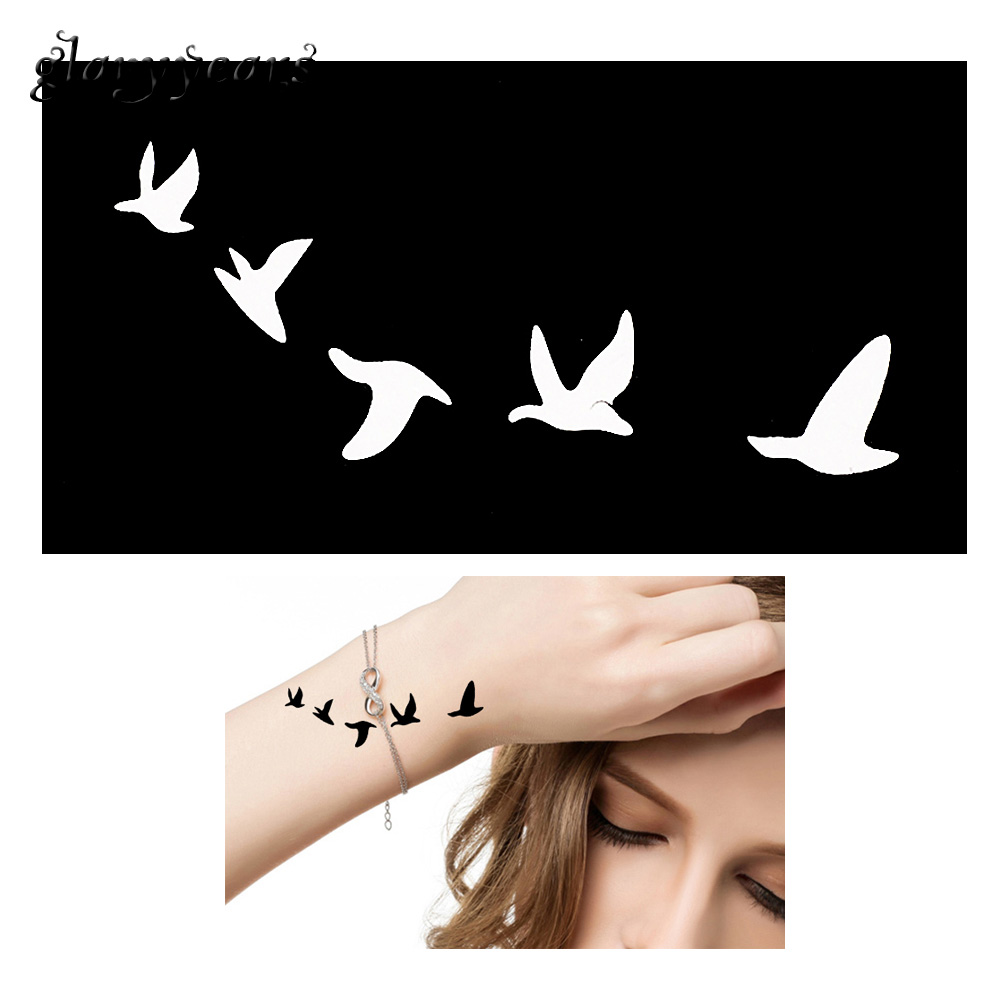 1 Piece Small Unisex Henna Tattoo Stencil Bird Fly Pattern DIY Airbrush Paint Mehndi Henna Indian Tattoo Template Unscented G140