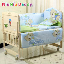 hot deal buy 5pcs/set baby bedding sets 100% cotton baby bedclothes cartoon crib bedding set include pillow bumpers mattress